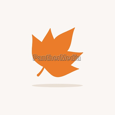 leaf icon with shadow on a