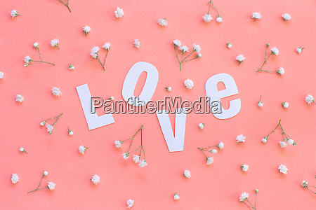 flowers and love lettering on a