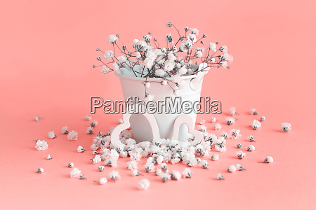 small white flowers and hearts on