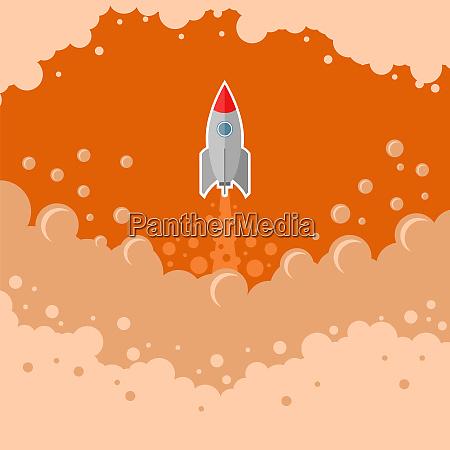 cohete, espacial, vuela, sobre, fondo, del - 28045862