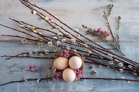 pascua huevos flores nido vintage fondo