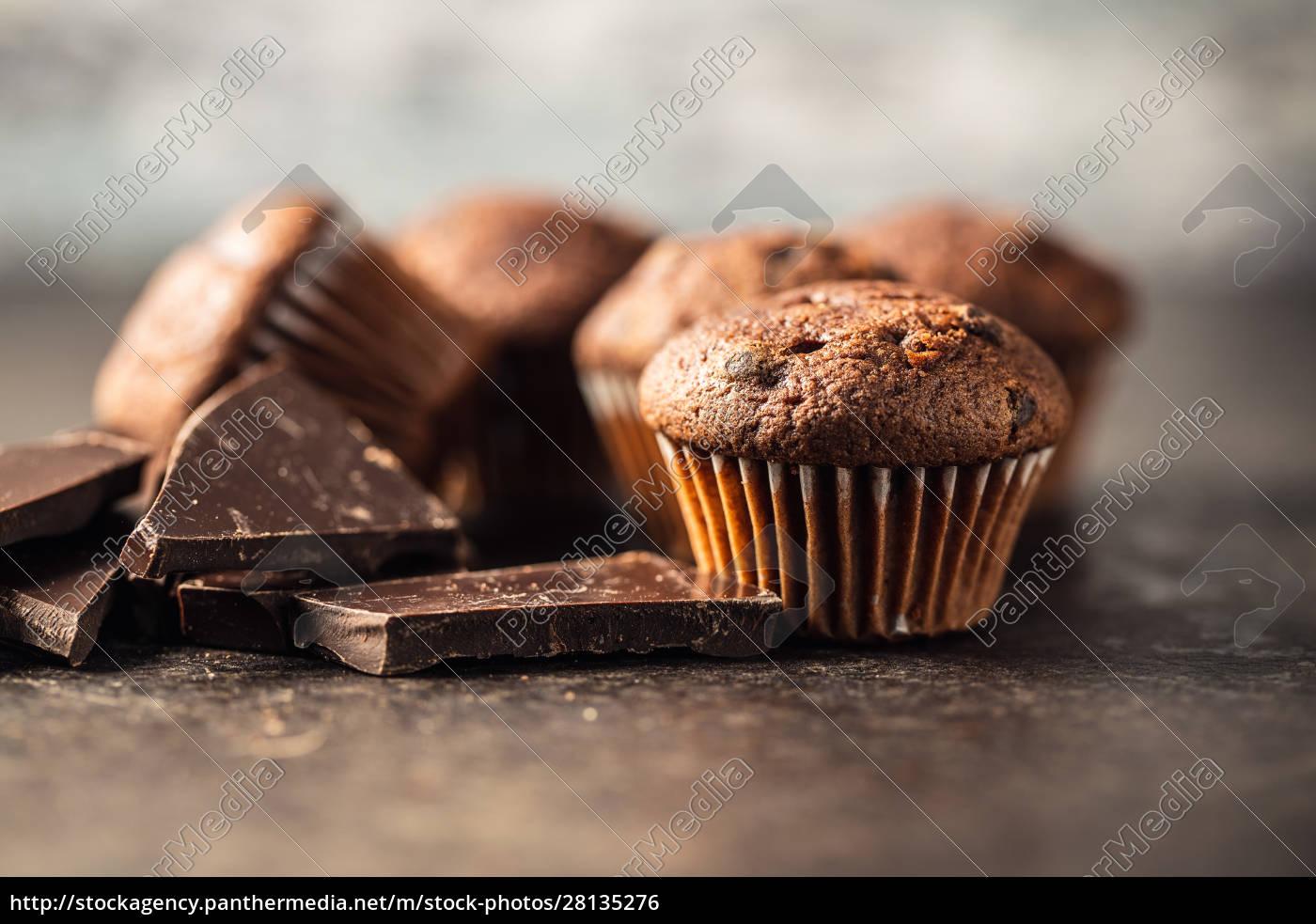 sabrosas, magdalenas, de, chocolate., dulces, pastelitos. - 28135276