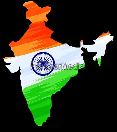 india mapa bandera territorio negro fondo