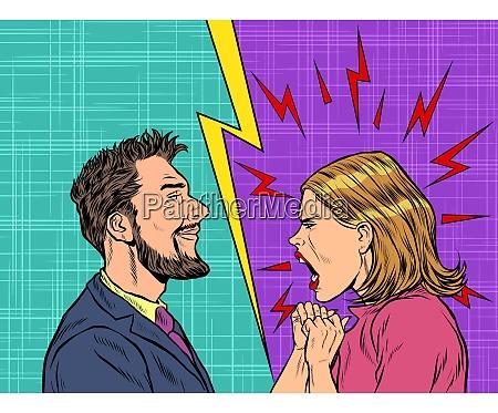 hombre y mujer disputan emociones gritan