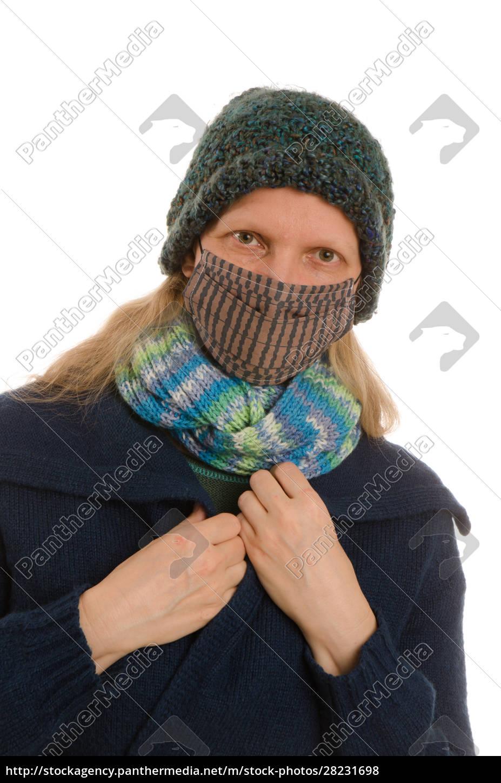 mujer, con, protección, bucal, y, máscara - 28231698