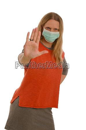 mujer, con, protección, bucal, y, máscara - 28231813