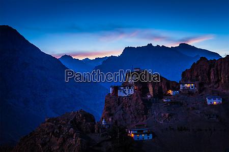 dhankar gompa in twilight
