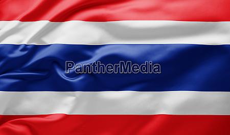 ondeando la bandera nacional de tailandia