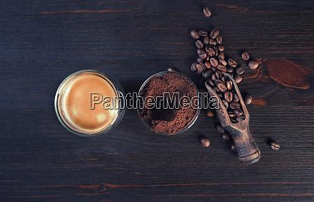 espresso granos de cafe polvo molido