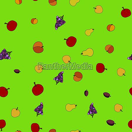 patron sin costuras de fruta dibujado