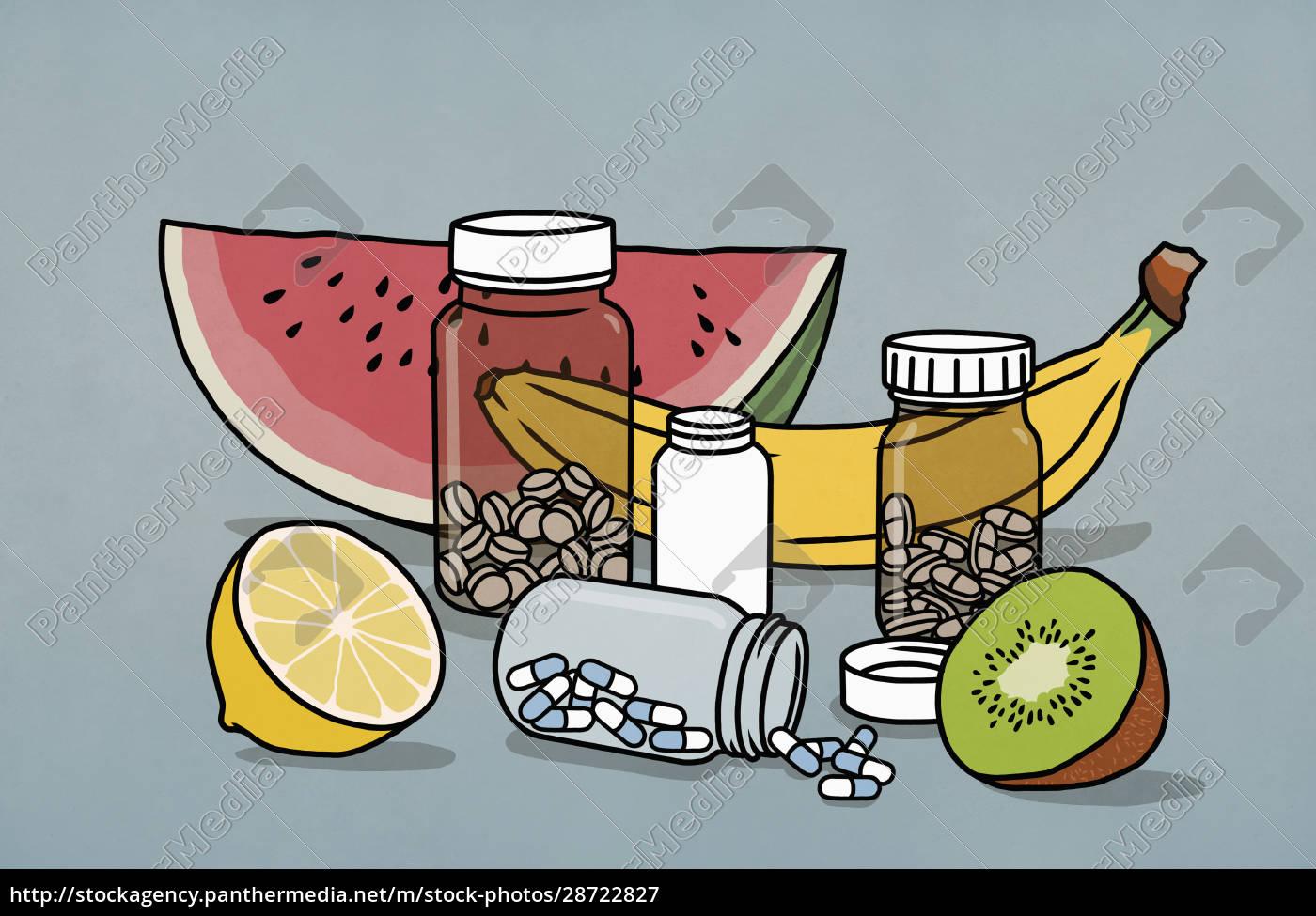 botellas, de, medicamentos, de, frutas, y - 28722827