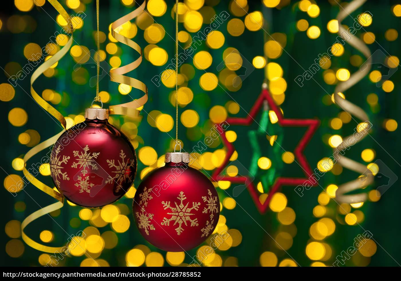 decoración, navideña, con, bolas, y, cintas. - 28785852