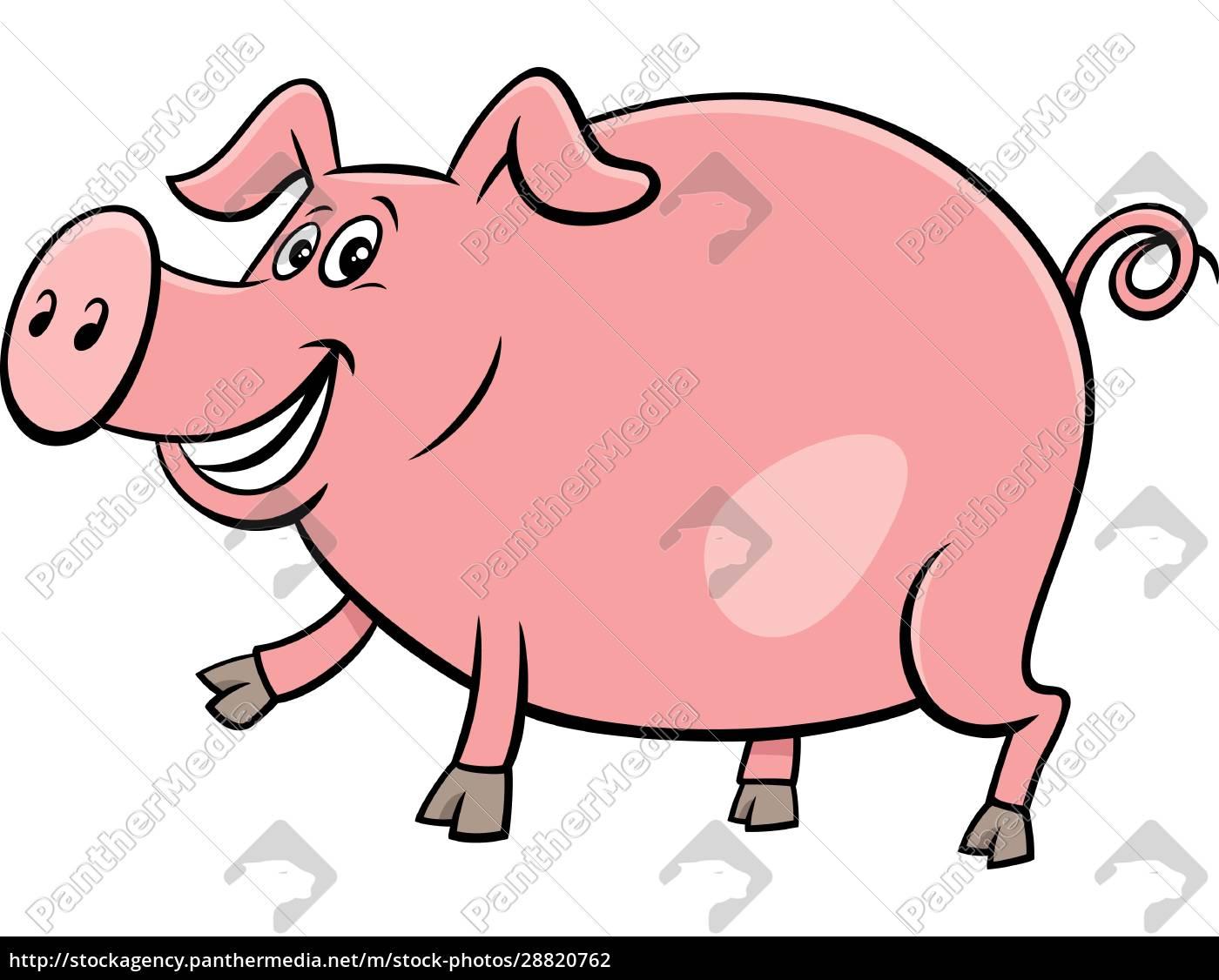feliz, cerdo, granja, animal, personaje, de - 28820762