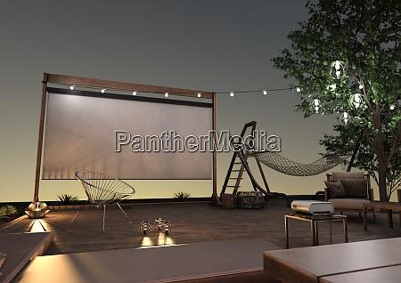pelicula proyector hogar cine pantalla exterior