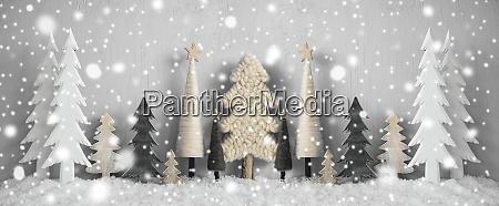 banner, árboles, de, navidad, nieve, fondo, amarillo, feliz, navidad - 28888268