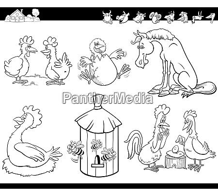 animales de granja de dibujos animados