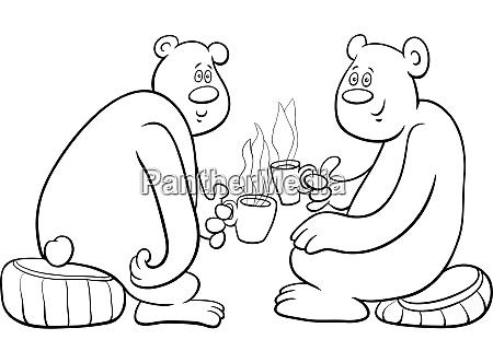 osos beber te de dibujos animados