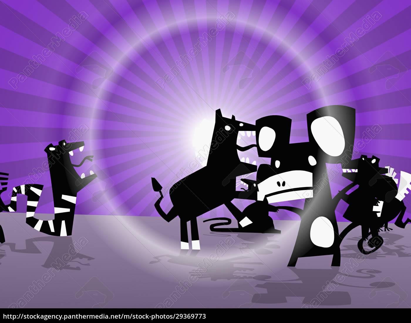 grupo, de, animales, frente, al, sol - 29369773