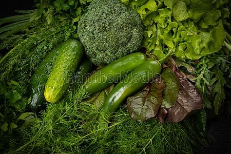 verduras verdes de fondo de bodegones
