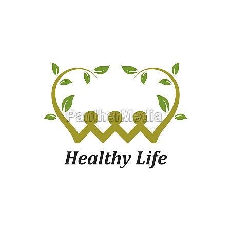 healthy life personas logo vector de