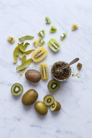 mermelada de kiwi amarillo y verde