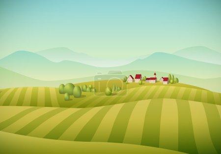 Verde, vector, Contexto, Ilustración, Cielo, temporada - B52817859
